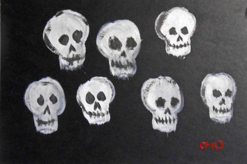 SEVEN SKULLS on cardboard by Otto Schneider