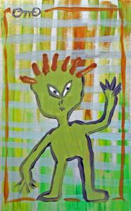 GREEN MAN on Cardboard by Otto Schneider
