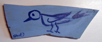 BLUE BIRD on Scrap Wood by Otto Schneider