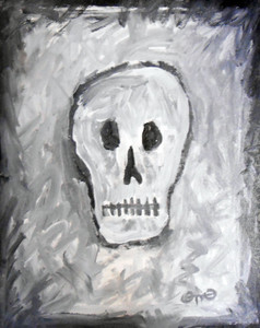 SKULL PAINTING - Acrylic on Textured Plywood by Otto Schneider
