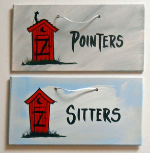 POINTERS & SITTERS - 2 REST ROOM SIGNS by George Borum