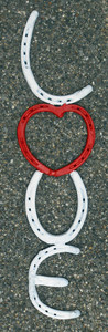LOVE SIGN - made with horseshoes by the Amish Blacksmith