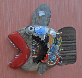 Carved wood fish Wall Hanger #116 by Steve Meadows