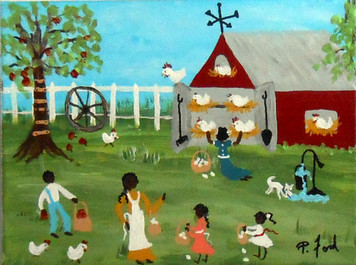 GATHERING EGGS - BLACK ART by P FORD