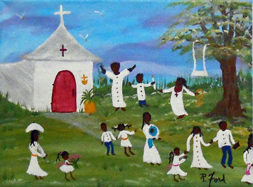 LEAVING SUNDAY SCHOOL - BLACK ART by P Ford