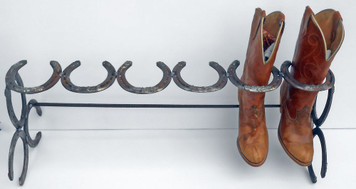 Boot Rack holds 3 pairs of Work or Cowboy  Boots by Amish Blacksmith