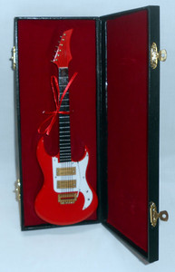 "MINIATURE RED ELECTRIC GUITAR and CASE - 10"" Long"