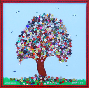 "AUTUMN LEAVES - TREE Painting with Buttons by Sheila B - 24"" x 24"""
