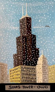 SEARS TOWER (Willis Tower) Chicago in Snowstorm by Otto Schneider