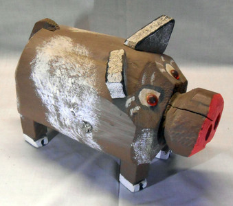 BROWN PIG CARVING by ROSE KRINKE