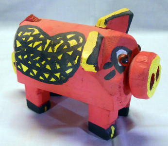PINK PIG CARVING by ROSE KRINKE