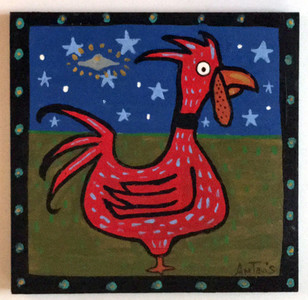 COSMIC CHICKEN - Fine Rooster Painting by Anthony Tavis
