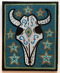 STEER SKULL PAINTING (Blue) by Anthony Tavis