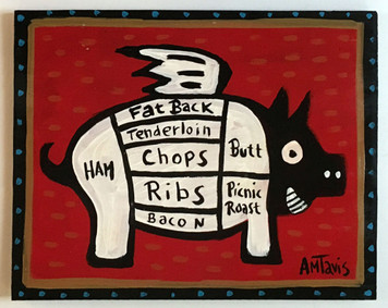 PIG PAINTING - Red Background by Anthony Tavis