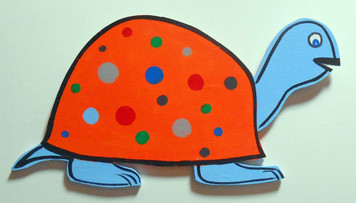 POLKA-DOTTED TURTLE WOOD CUT-OUT by George Borum