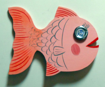 WOOD FISH w/ Bottle Cap Eye by George Borum
