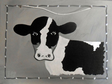 Black & White Cow Painting by George Borum