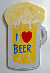 I LOVE BEER - WOOD BEER MUG WALL HANGER by George Borum