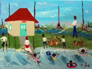 SWIMMING and FISHING at the CAMP by Paulette Ford