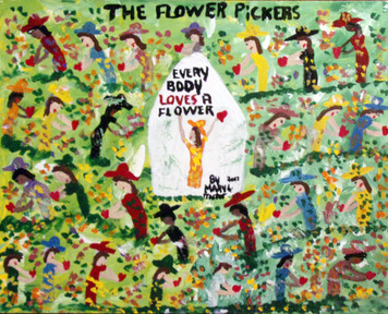 BIG - FLOWER PICKERS painting by Missionary Mary Proctor