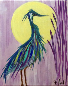 BLUE HERON PAINTING by Paulette Ford