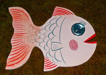 WOOD Cut-out FISH w/ Bottle Cap Eye by George Borum