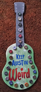 KEEP AUSTIN WEIRD GUITAR Wall Hanger by George Borum