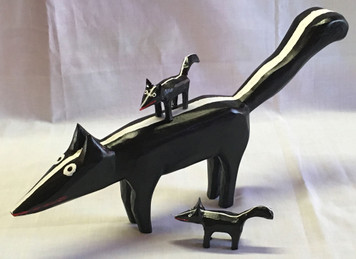 CARVED WOOD SKUNK and Babies by Minnie Adkins