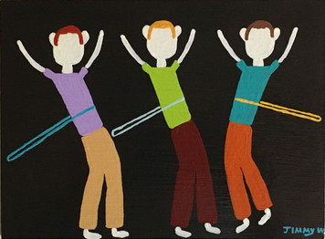 THREE BOYS HULA-HOOPING by Jimmy W