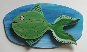 GREEN FISH #5 Mounted on Backboard by Steve Knight