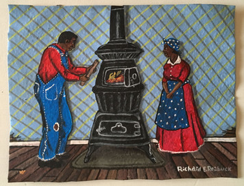 COUPLE BY HEATING STOVE #61 - by Richard Roebuck