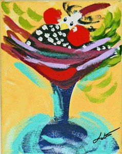 Baby Guinea in Martini Glass by Madison Latimer