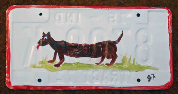 Dachsund License Plate by John Taylor