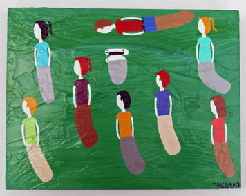 Sack Race - Memory Painting by Jimmy W