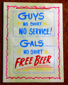 GUYS & GALS - FREE BEER FUNKY SIGN by George Borum
