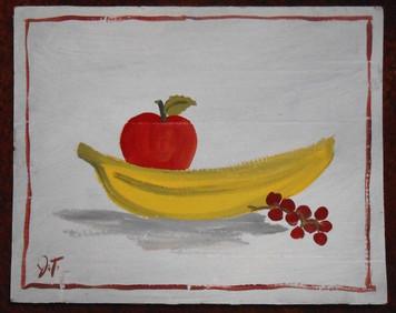 FRUIT STILL LIFE PAINTING BY OUTSIDER FOLK ARTIST JOHN TAYLOR