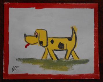 YELLOW DOG PAITING BY OUTSIDER JOHN TAYLOR