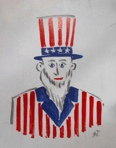 UNCLE SAM PAINTING BY FOLK ARTIST JOHN TAYLOR