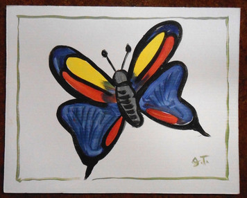 BUTTERFLY PAINTING BY OUTSIDER FOLK ARTIST JOHN TAYLOR