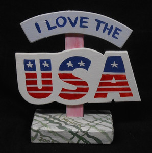 I LOVE THE USA SIGNPOST BY GEORGE BORUM