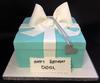 Blue and White Gift Box Cake