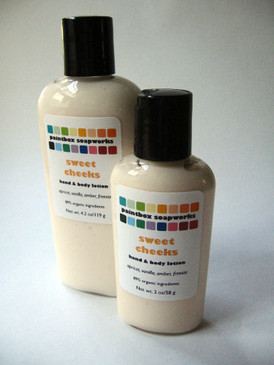 Sweet Cheeks Organic Hand and Body Lotion SAMPLE SIZE - Apricot, Vanilla, Amber, Freesia...