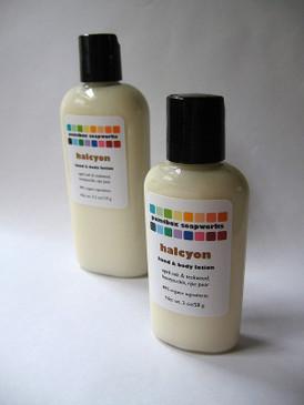 Halcyon SAMPLE SIZE Organic Hand and Body Lotion - Aged Oak & Teakwood, Honeysuckle, Pear...