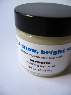 White Snow, Bright Snow Sorbetto Emulsifying Sugar Scrub SAMPLE SIZE - Peppermint, Fresh Snow, Pale Vanilla... Yuletide Limited Edition