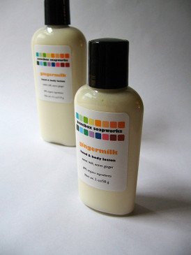 Gingermilk Organic Hand and Body Lotion SAMPLE SIZE - Sweet Milk and Ginger...