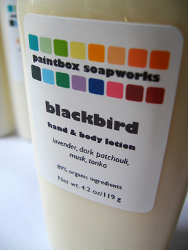 Blackbird Organic Hand and Body Lotion - Lavender, Dark Patchouli, Musk, Tonka... Original Formula