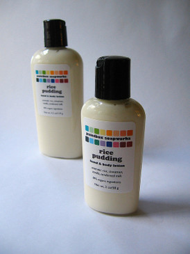 Rice Pudding SAMPLE SIZE Organic Hand and Body Lotion - Aromatic Rice, Cinnamon, Vanilla, Condensed Milk