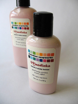 Mandinka Organic Hand and Body Lotion SAMPLE SIZE - Spiced Honey, Carnation, Incense, Saffron...