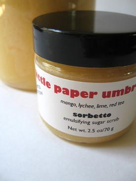Little Paper Umbrellas Sorbetto Emulsifying Sugar Scrub SAMPLE SIZE - Mango, Lychee, Lime, Melon... Limited Edition