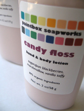 Candy Floss SAMPLE SIZE Organic Hand and Body Lotion - Blackberry, Marshmallow, Vanilla Taffy... Limited Edition
